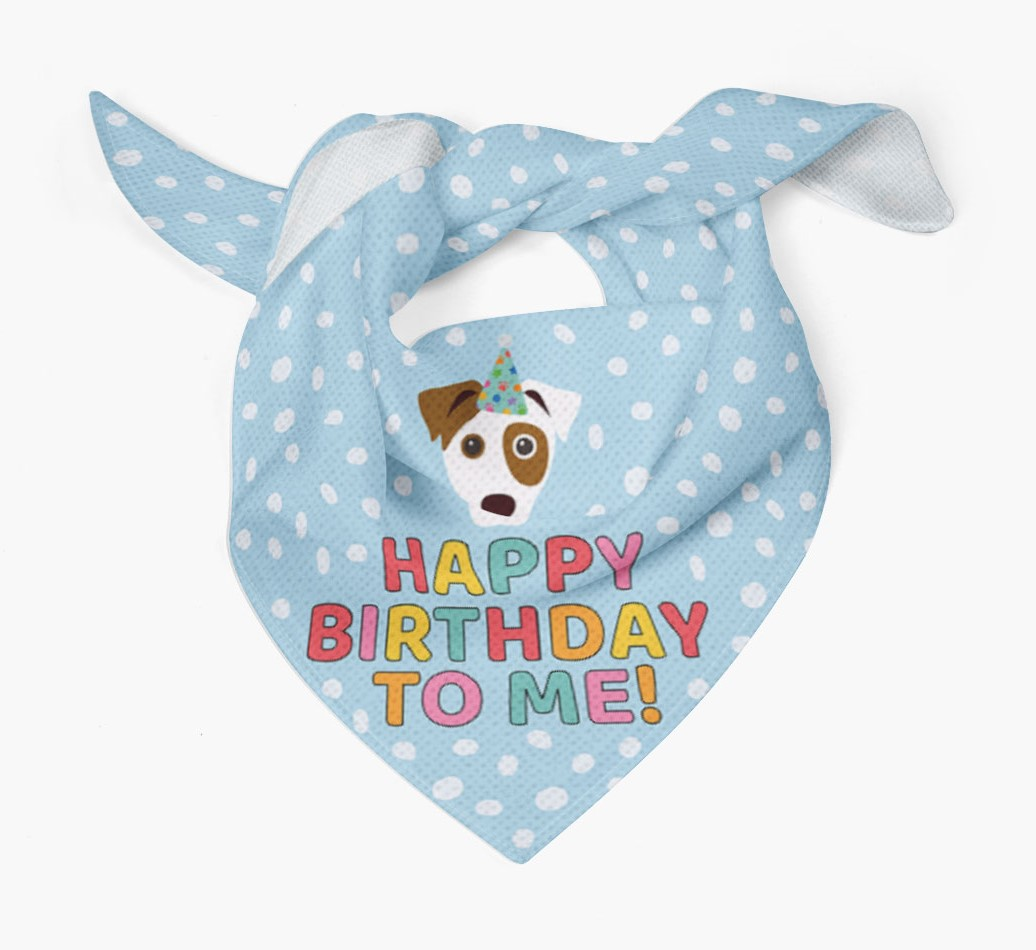 'Happy Birthday to Me' Bandana with Icon of your Dog Tied