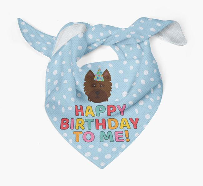'Happy Birthday To Me' - Personalised Norwich Terrier Bandana