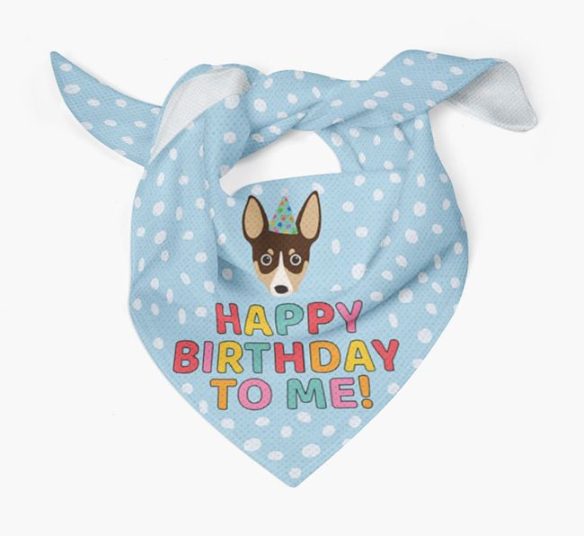 'Happy Birthday To Me' - Personalised Rat Terrier Bandana