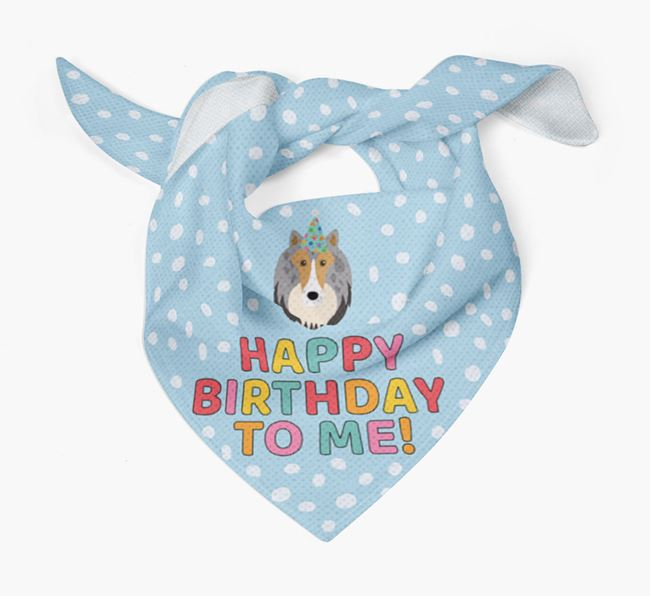 'Happy Birthday To Me' - Personalised Rough Collie Bandana