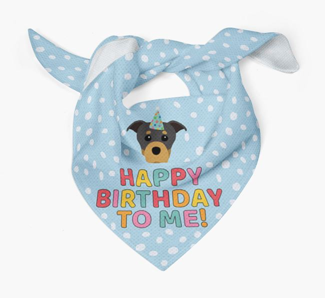 'Happy Birthday To Me' - Personalised Staffordshire Bull Terrier Bandana