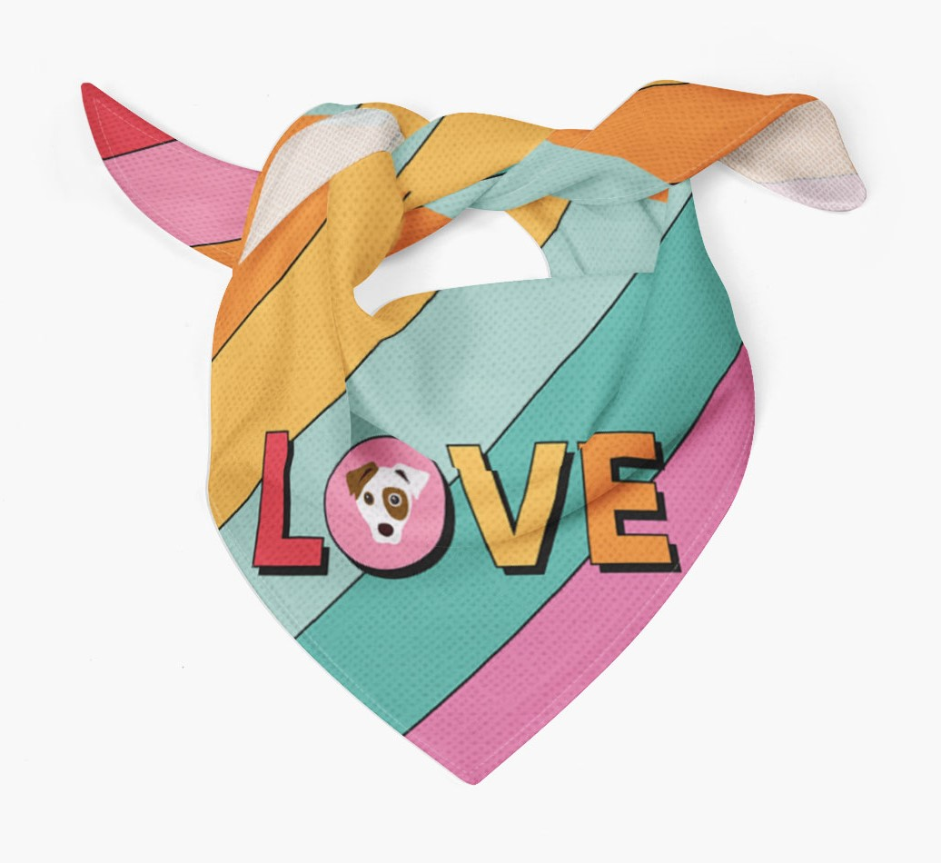 'Love' Bandana with Icon of your Dog Tied