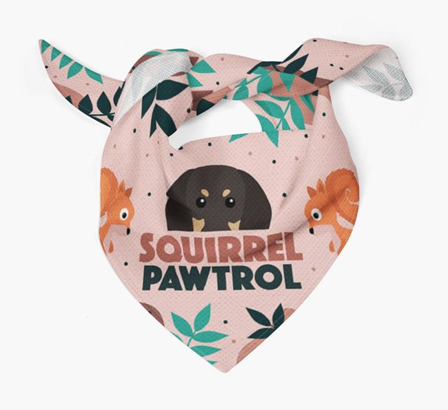 'Squirrel Pawtrol' - Personalised Black and Tan Coonhound Bandana