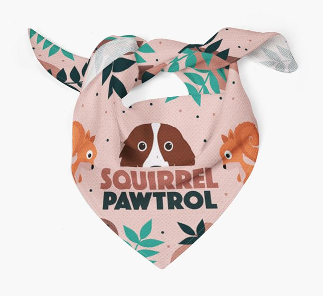 'Squirrel Pawtrol' - Personalised Irish Red & White Setter Bandana