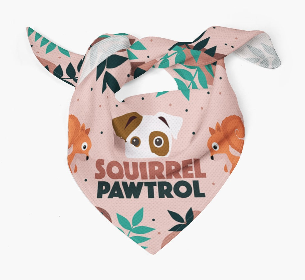 'Squirrel Pawtrol ' Bandana with Icon of your Dog Tied