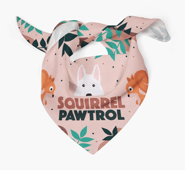 'Squirrel Pawtrol' - Personalised White Swiss Shepherd Dog Bandana