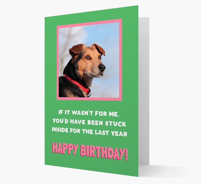 'Stuck Inside' - Personalized Card featuring photo of your American Bulldog