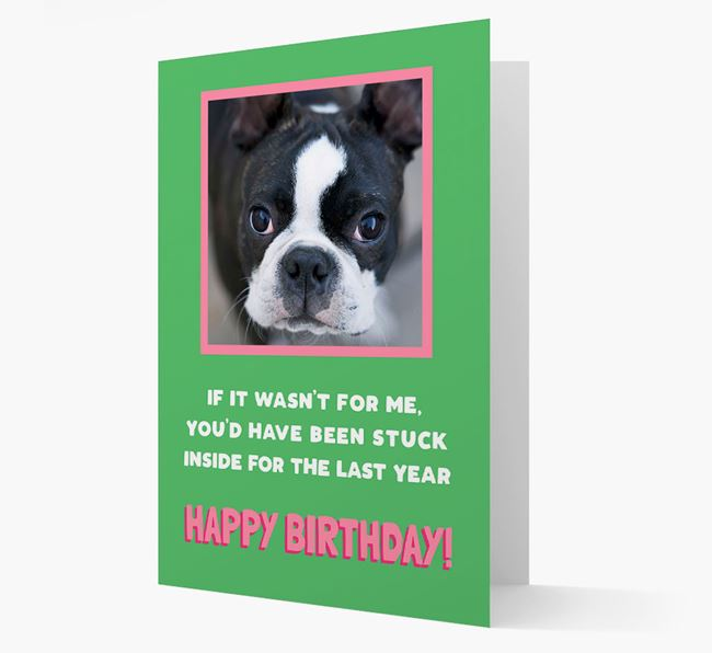 'Stuck Inside' - Personalised Card featuring photo of your Dog