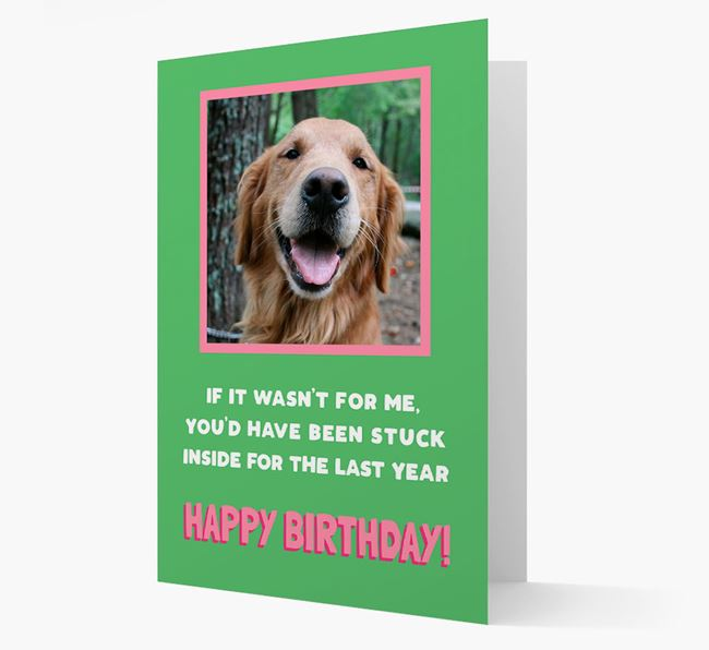 'Stuck Inside' - Personalized Card featuring photo of your Golden Retriever