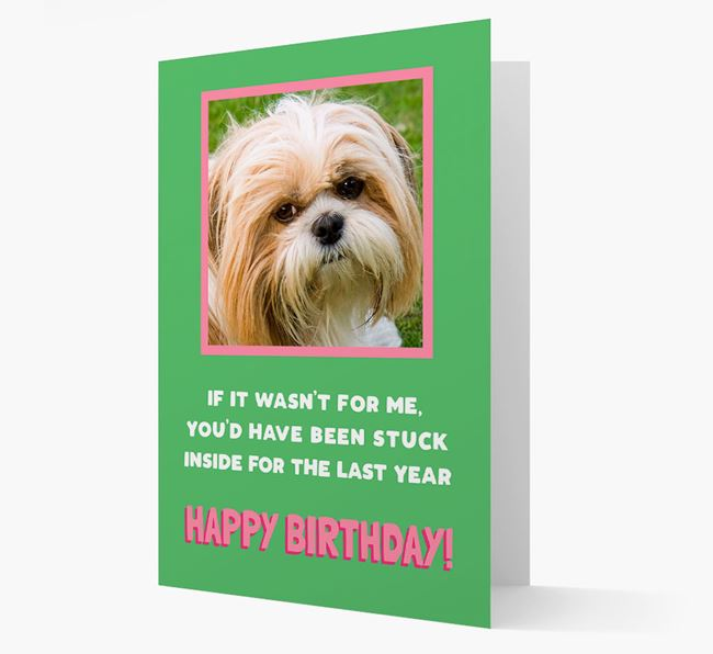'Stuck Inside' - Personalized Card featuring photo of your Shih Tzu