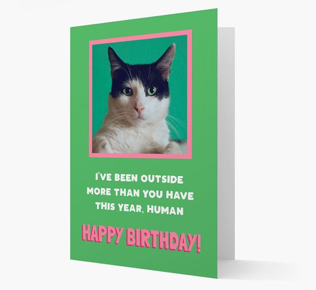 'Outside More than You' - Personalized Card featuring photo of your Cat