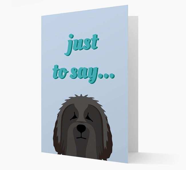 'Just to Say' - Personalized Bearded Collie Card