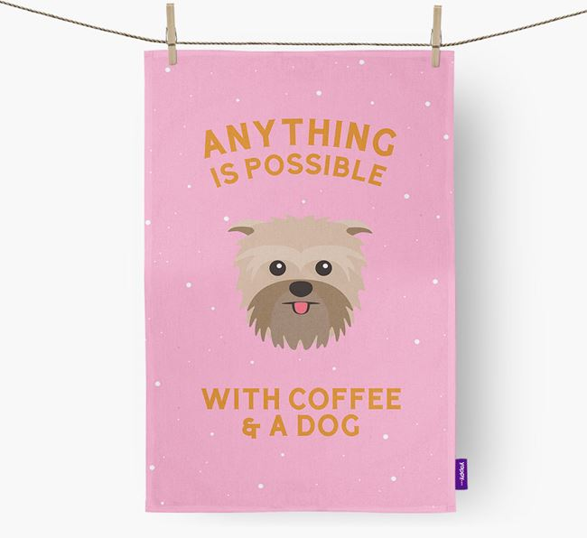 'Anything Is Possible With Coffee/Tea...' - Personalized Affenpinscher Dish Towel