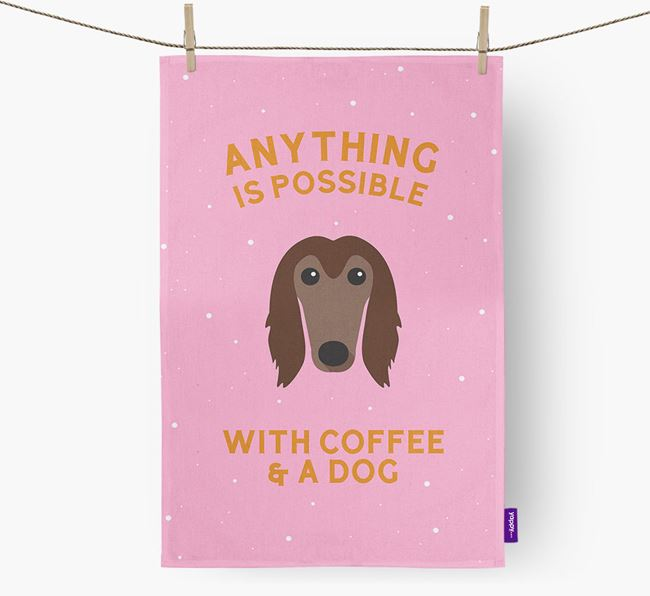 'Anything Is Possible With Coffee/Tea...' - Personalized Afghan Hound Dish Towel