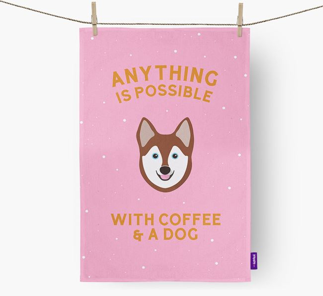 'Anything Is Possible With Coffee/Tea...' - Personalized Alaskan Klee Kai Dish Towel