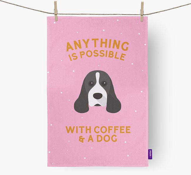 'Anything Is Possible With Coffee/Tea...' - Personalised American Cocker Spaniel Tea Towel