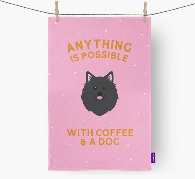 'Anything Is Possible With Coffee/Tea...' - Personalized American Eskimo Dog Dish Towel