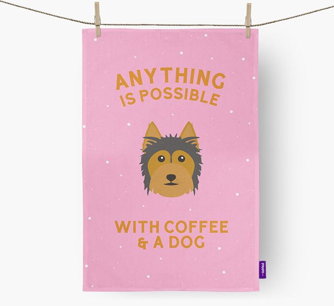 'Anything Is Possible With Coffee/Tea...' - Personalized Australian Silky Terrier Dish Towel
