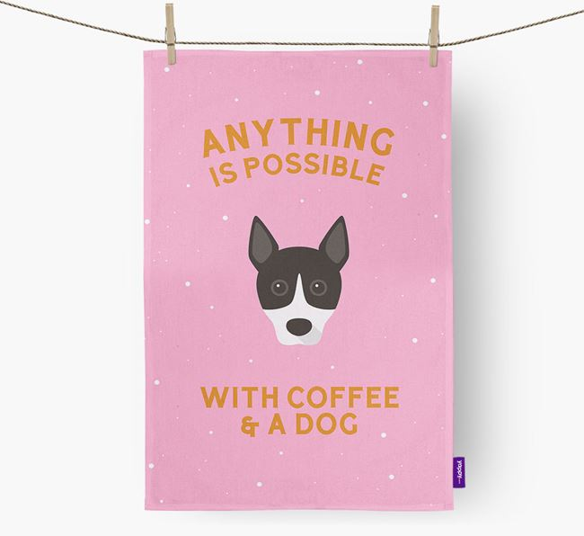 'Anything Is Possible With Coffee/Tea...' - Personalized Basenji Dish Towel