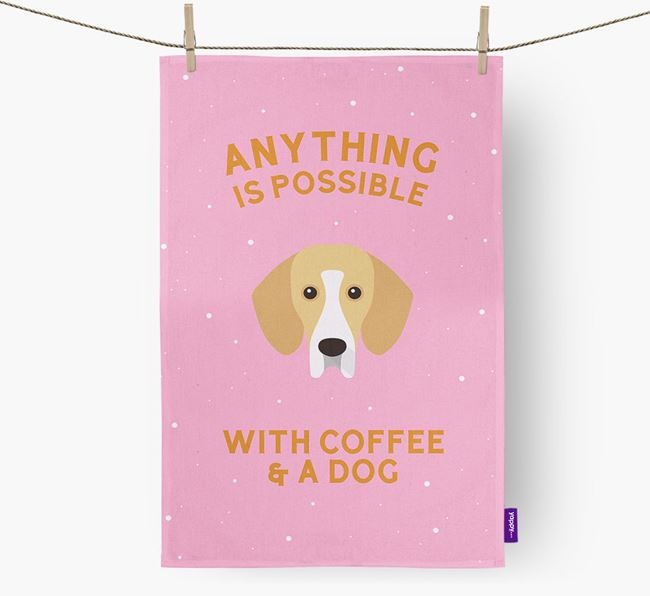 'Anything Is Possible With Coffee/Tea...' - Personalised Bassador Tea Towel