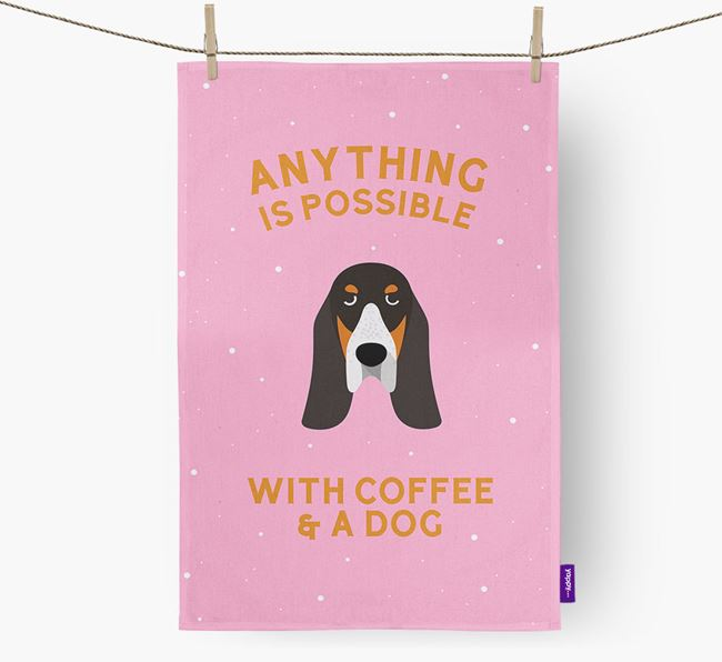 'Anything Is Possible With Coffee/Tea...' - Personalized Basset Bleu De Gascogne Dish Towel