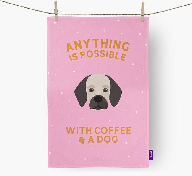'Anything Is Possible With Coffee/Tea...' - Personalized Bassugg Dish Towel