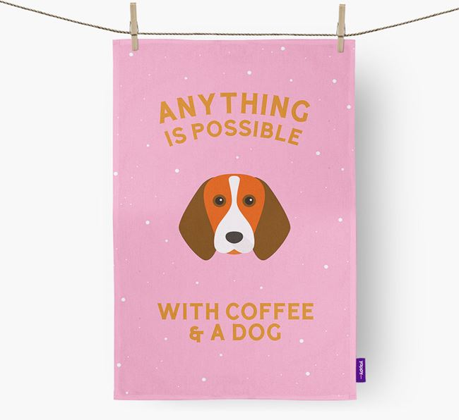 'Anything Is Possible With Coffee/Tea...' - Personalized Beagle Dish Towel