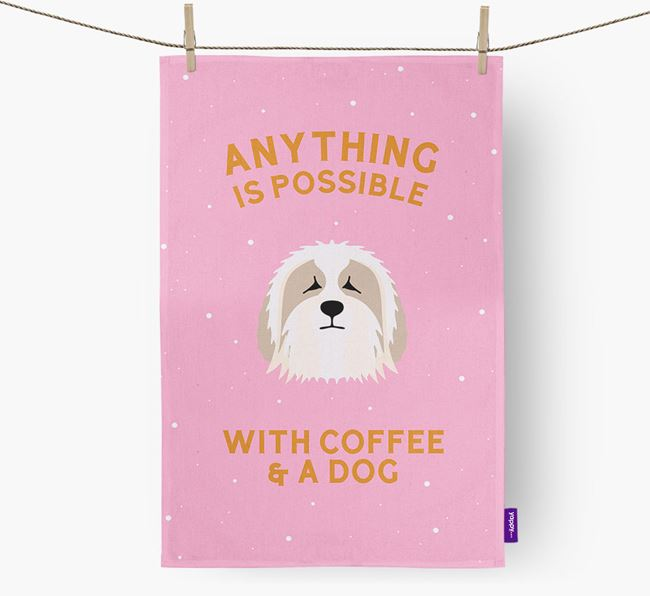 'Anything Is Possible With Coffee/Tea...' - Personalized Bearded Collie Dish Towel