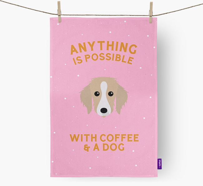 'Anything Is Possible With Coffee/Tea...' - Personalized Bedlington Whippet Dish Towel
