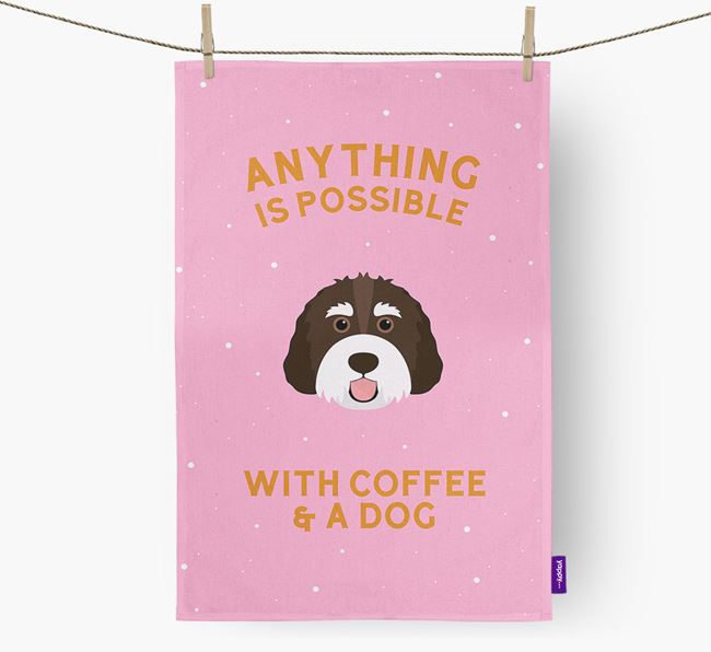 'Anything Is Possible With Coffee/Tea...' - Personalized Bernedoodle Dish Towel