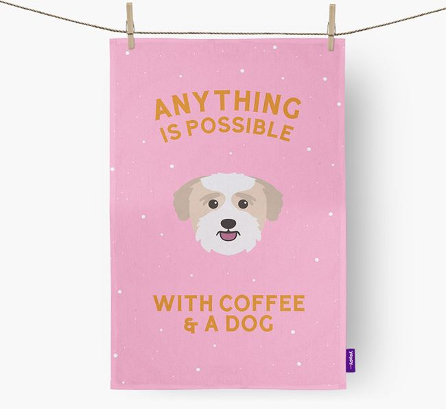 'Anything Is Possible With Coffee/Tea...' - Personalized Bichon Yorkie Dish Towel