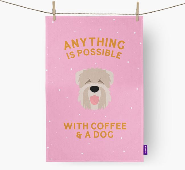 'Anything Is Possible With Coffee/Tea...' - Personalized Black Russian Terrier Dish Towel