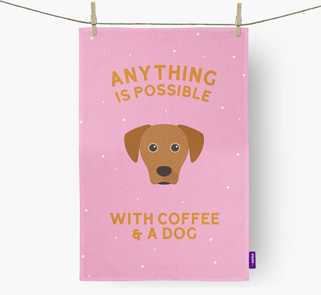 'Anything Is Possible With Coffee/Tea...' - Personalized Blue Lacy Dish Towel