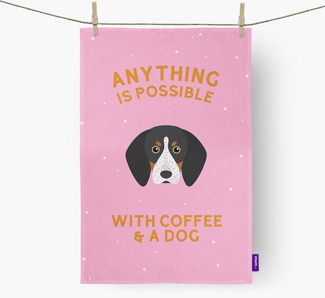 'Anything Is Possible With Coffee/Tea...' - Personalized Bluetick Coonhound Dish Towel