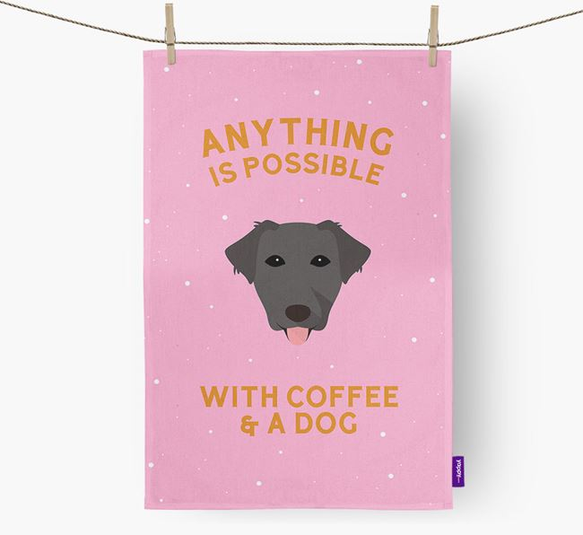 'Anything Is Possible With Coffee/Tea...' - Personalized Borador Dish Towel