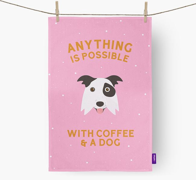 'Anything Is Possible With Coffee/Tea...' - Personalized Border Collie Dish Towel