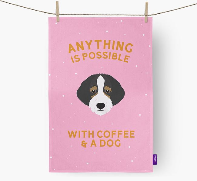 'Anything Is Possible With Coffee/Tea...' - Personalized Bordoodle Dish Towel