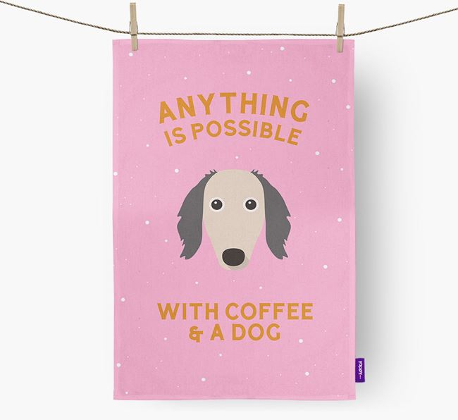 'Anything Is Possible With Coffee/Tea...' - Personalized Borzoi Dish Towel
