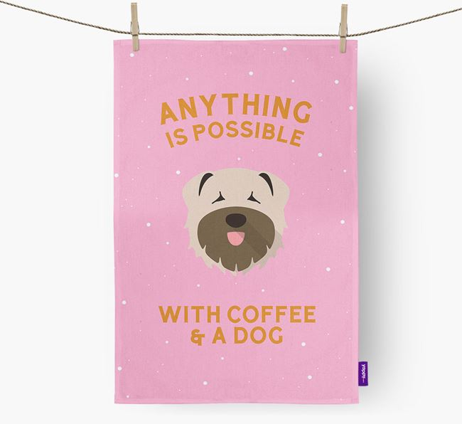 'Anything Is Possible With Coffee/Tea...' - Personalized Bouvier Des Flandres Dish Towel