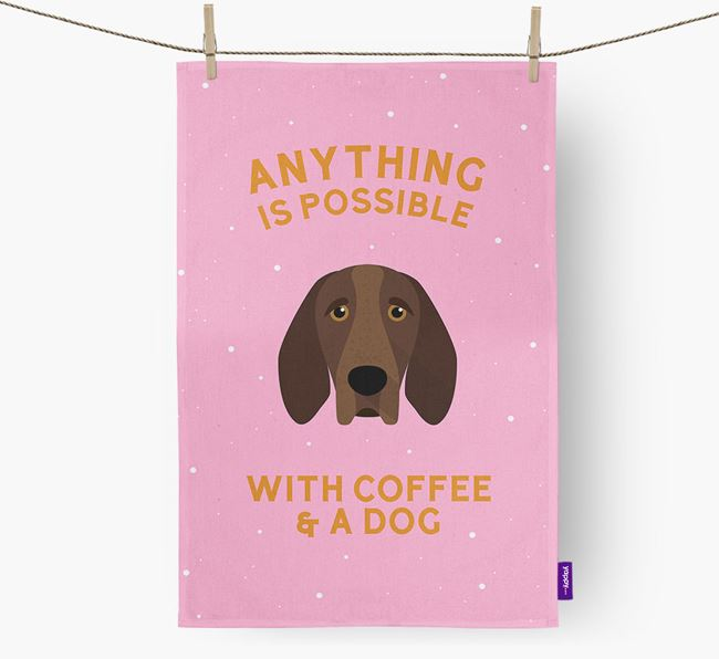 'Anything Is Possible With Coffee/Tea...' - Personalized Bracco Italiano Dish Towel