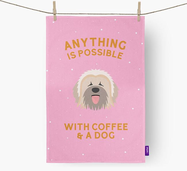 'Anything Is Possible With Coffee/Tea...' - Personalized Briard Dish Towel