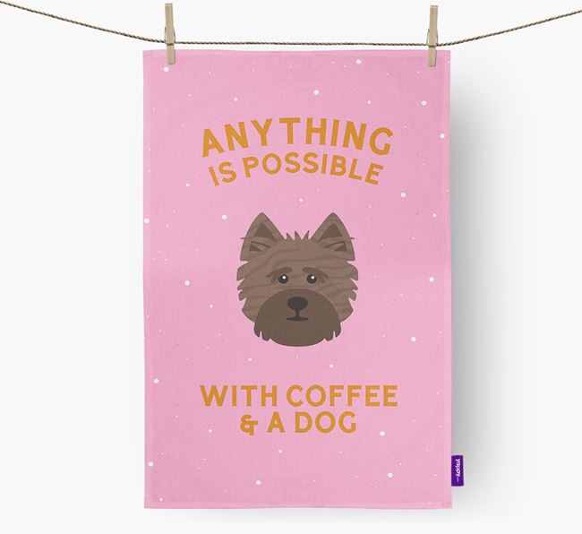 'Anything Is Possible With Coffee/Tea...' - Personalized Cairn Terrier Dish Towel
