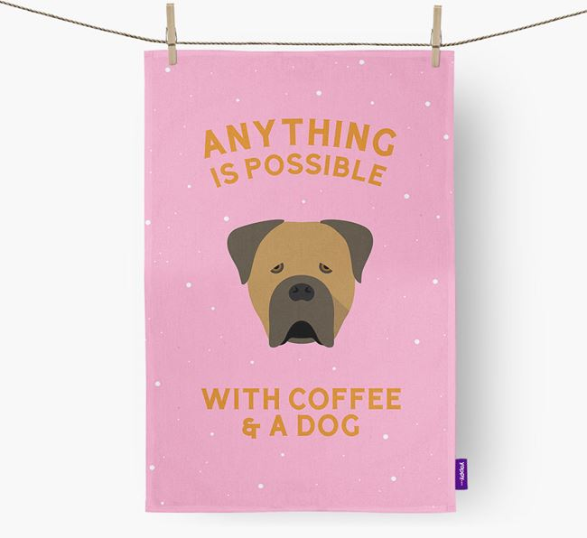 'Anything Is Possible With Coffee/Tea...' - Personalized Cane Corso Italiano Dish Towel