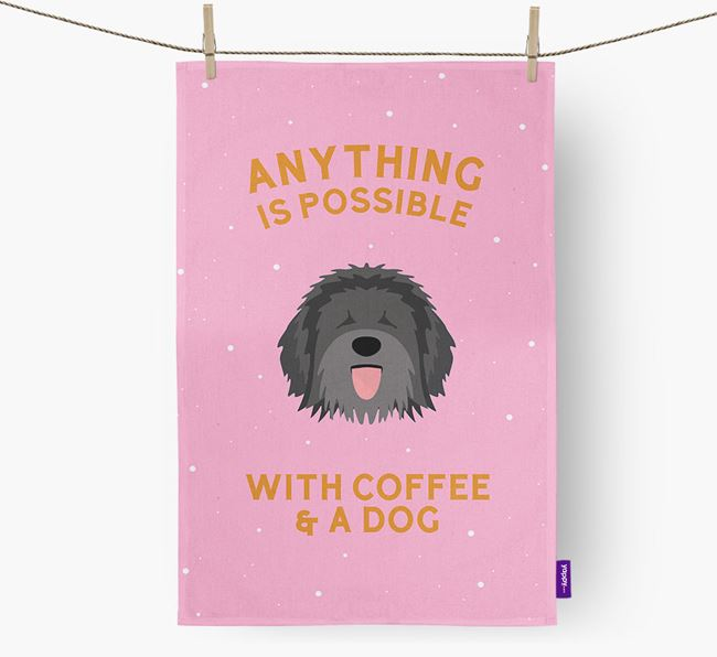 'Anything Is Possible With Coffee/Tea...' - Personalized Catalan Sheepdog Dish Towel