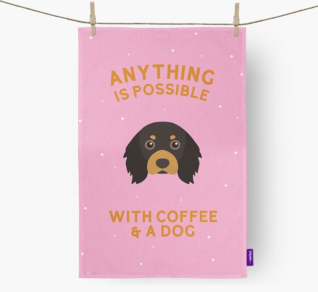 'Anything Is Possible With Coffee/Tea...' - Personalized Cavalier King Charles Spaniel Dish Towel