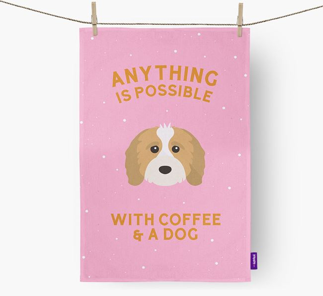 'Anything Is Possible With Coffee/Tea...' - Personalized Cavapoo Dish Towel