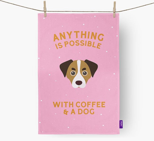 'Anything Is Possible With Coffee/Tea...' - Personalized Cheagle Dish Towel