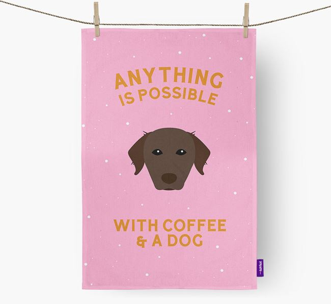 'Anything Is Possible With Coffee/Tea...' - Personalized Chesapeake Bay Retriever Dish Towel