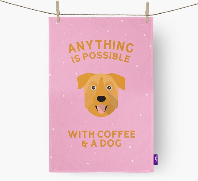 'Anything Is Possible With Coffee/Tea...' - Personalized Chinook Dish Towel