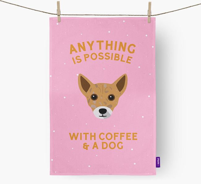 'Anything Is Possible With Coffee/Tea...' - Personalized Chi Staffy Bull Dish Towel